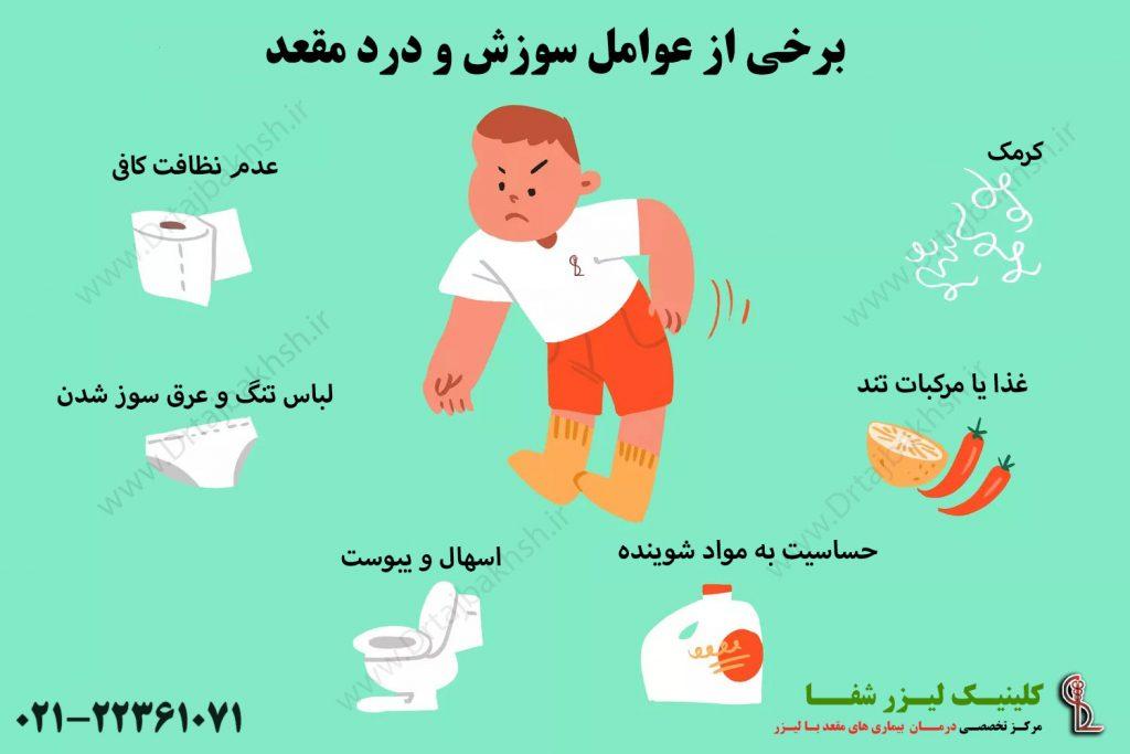 عوامل درد و سوزش مقعد